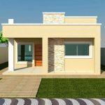 Fachada sencilla y bonita para casa de un piso pequeña