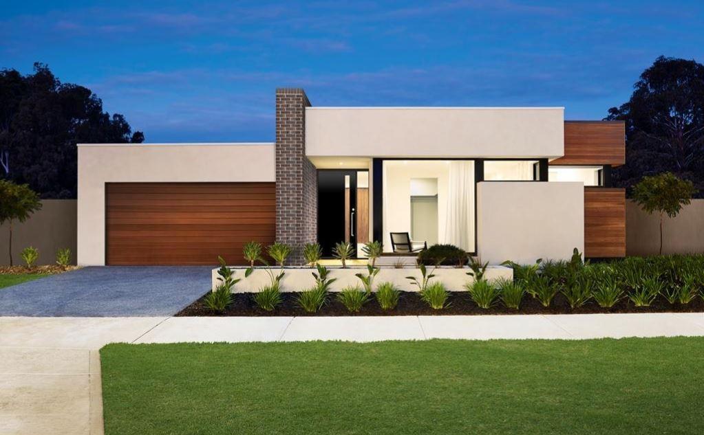 10 hermosas fachadas de casas de una planta for Minimalist house flat roof