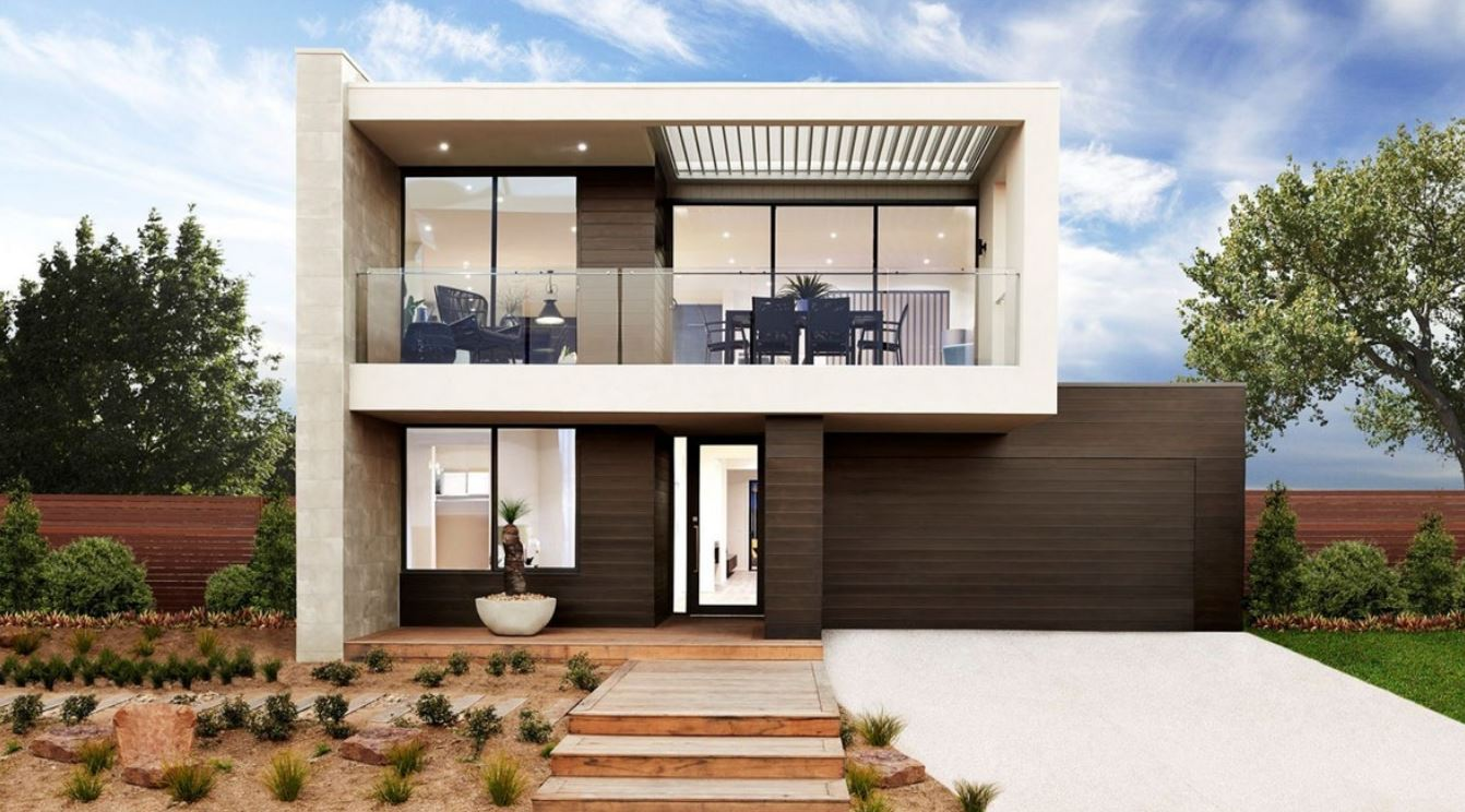 20 fachadas de casas modernas de dos pisos con techo plano for Pisos elegantes para casas