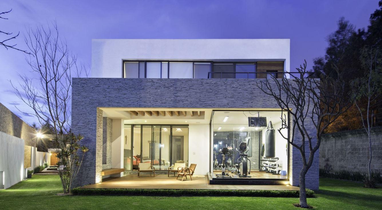 20 fachadas de casas modernas de dos pisos con techo plano for Techos planos para casas