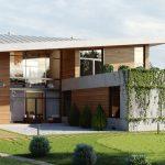 Fachada de casa moderna con madera y cemento alisado