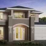 Fachada de casa moderna con arco de medio punto
