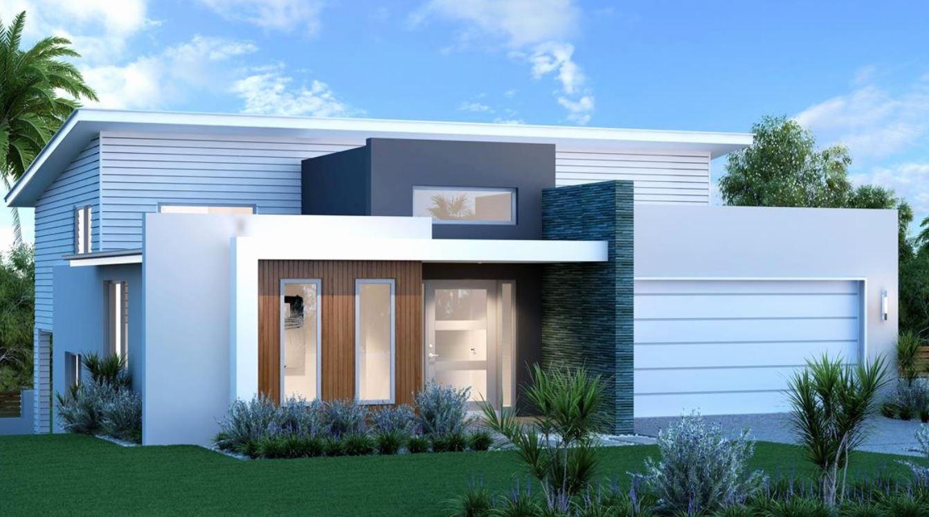 15 fachadas de casas modernas de una planta for Casas rectangulares