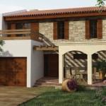 Fachada de casa con piedra y tejas