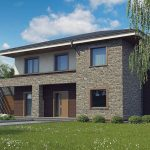 Fachada de casa moderna de dos pisos con piedra natural y ladrillos vistos