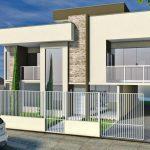 Modelo de fachada con rejas verticales sencillas